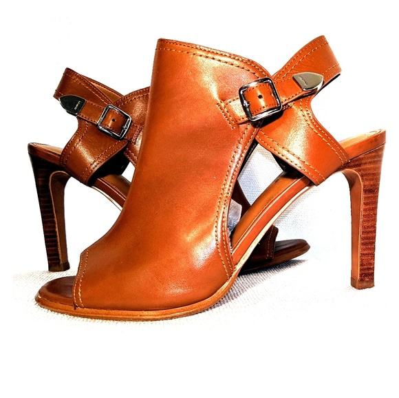 Coach Shoes - Coach Brown Leather Peep Toe Cutout Heel Booties